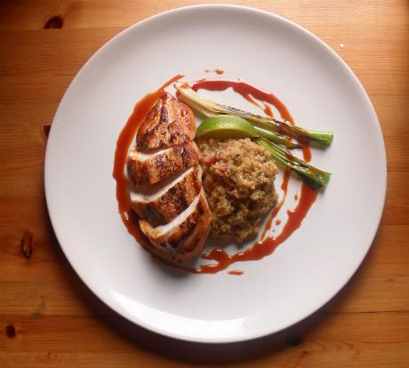Chicken with bacon quinoa