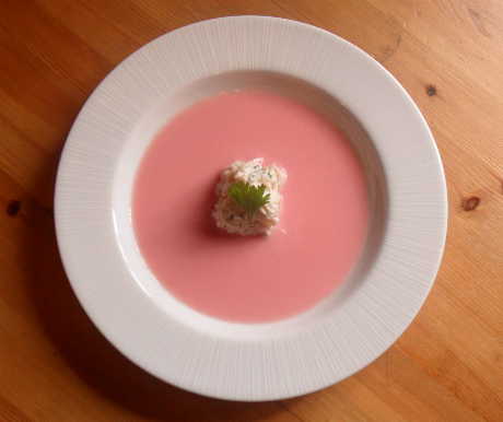 chilled melon soup with crab
